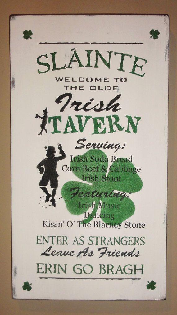 St Patrick's Day Leprechaun Shamrock Irish Pub Sign by erinjt, $40.00