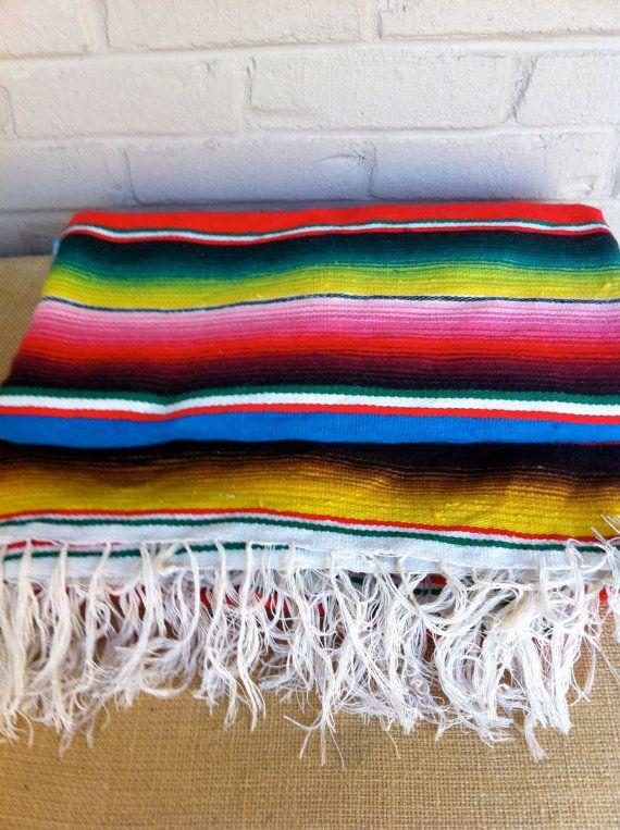 Mexican Rug Serape Large Bright Vibrant Colors