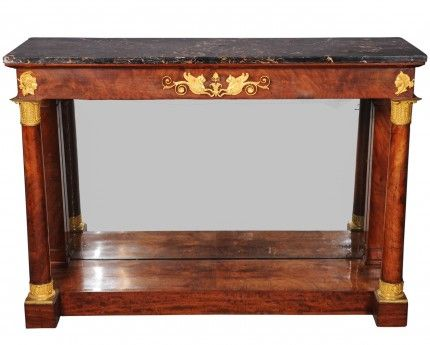 A French Empire ormolu-mounted mahogany console table with portor marble top, circa 1815. 95 x 133 x 42 cm