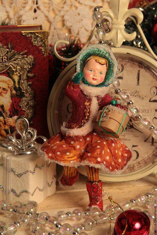 """Новый год 2017 ручной работы. Ярмарка Мастеров - ручная работа. Купить Продана. ватная игрушка """"Девочка в зеленом капоре """". Handmade."""
