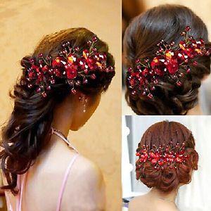 Donna Della Sposa Spilla Capelli Fermaglio Fiore Rosso Vestito Da Matrimonio | eBay