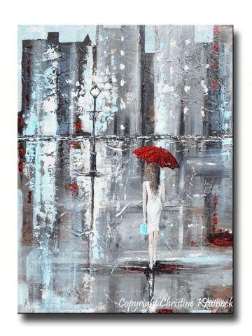 Giclee Print Kunst Abstrakte Malerei Mädchen Red Umbrella City