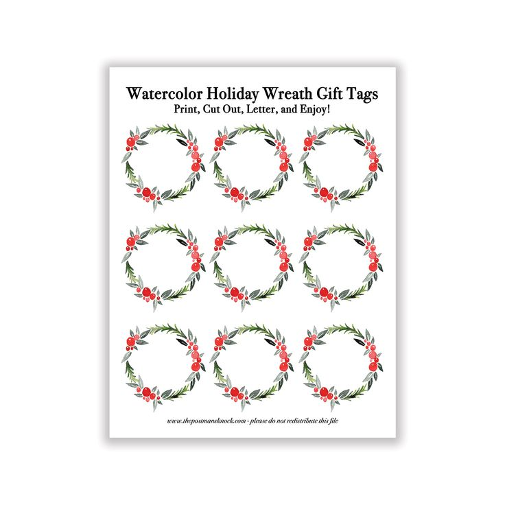"These printable watercolor holiday gift tags will help you add a quick, creative touch to your gifts! The finished, cut out tags will end up being just about 2.5"" in diameter. These DIY gift tags print off well on any paper surface; 32 laserjet paper or 80 lb. drawing paper that has been cut to standard printer size both are great choices! Remember: when you print, do not select ""Fit to Page"". Otherwise, the size of the tags will be reduced."