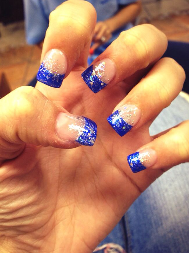 Royal blue tips with sparkles!