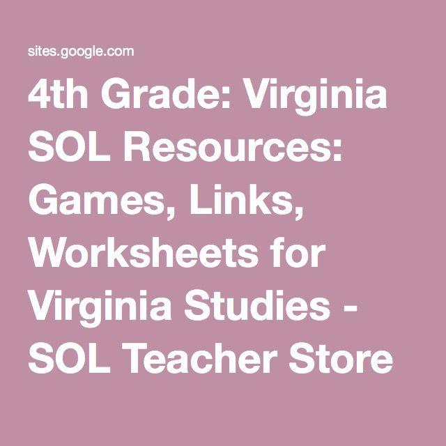 4th Grade: Virginia SOL Resources: Games, Links, Worksheets for Virginia Studies - SOL Teacher Store