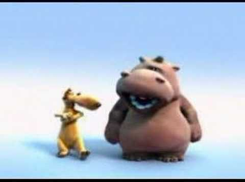 This video is a very old song in a newer version (by the Tokens), interpreted by an hilarious duo, Pat the Hippo and the Stanley, the Dog; by Pierre Coffin.  The song is based in an African popular myth that says that Shaka (Zulu's last king a.k.a. The Lion, for people who didn't play Sid Mayer's Civilization), wasn't dead, he was just sleeping ...