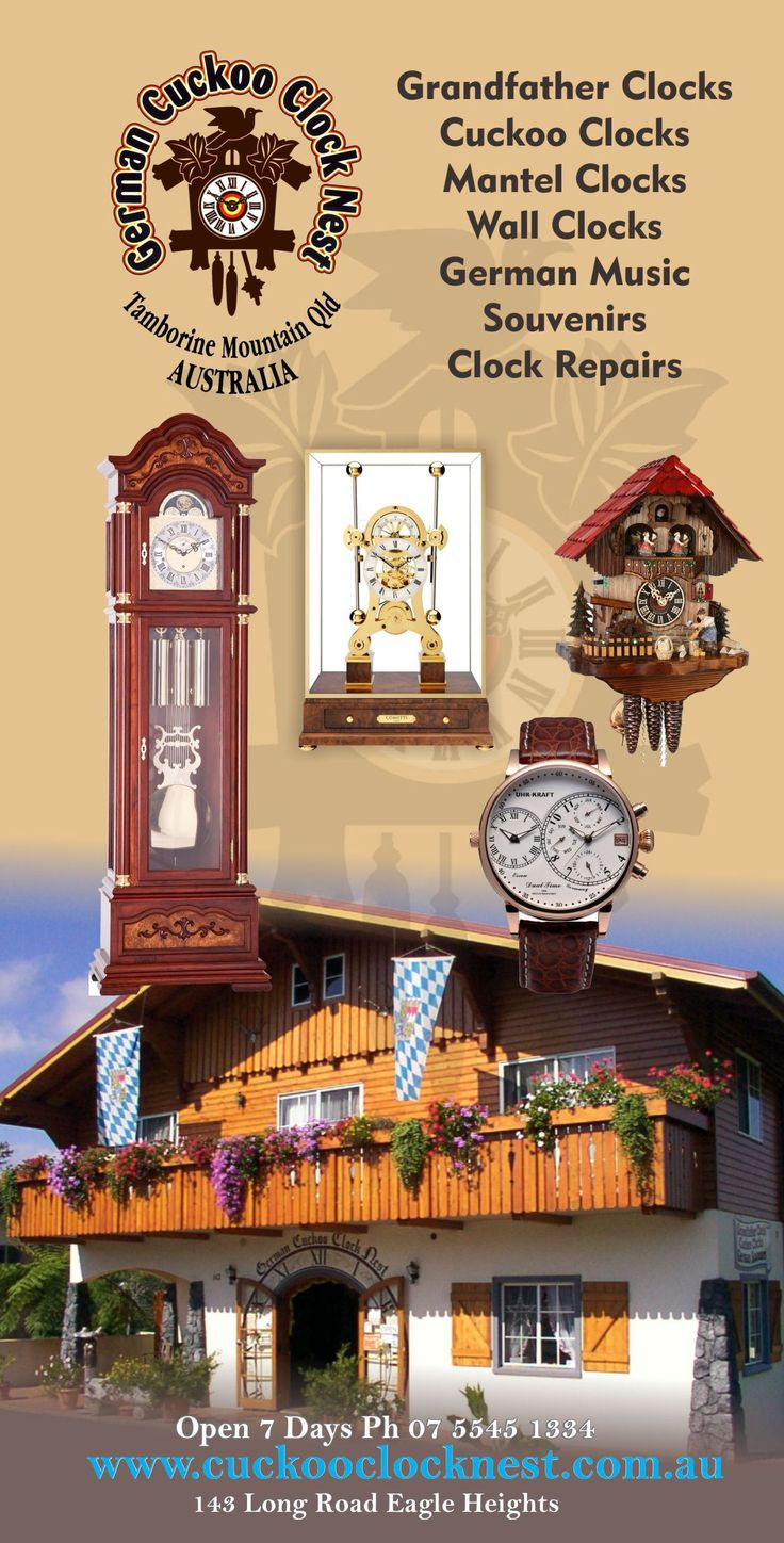 You have never seen a shop like this.. Cuckoo Clock Galore.. From all over the world.. located in the convenient Tamborine Mountain..... For more information visit http://ticketsandtours.com.au/travel/cuckoo-clock-shop/