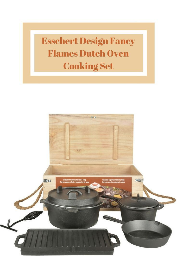 Esschert Design Fancy Flames Dutch Oven Cooking Set is a 7 piece set made of cast iron. The set includes; two pans with lids, one grill, one medium pancake pan and one hook #ad #cookware #kitchen #fancy #flames #cast-iron