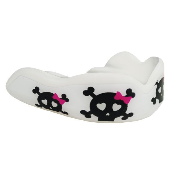 Cute Kills - Skulls with bows signature mouthguard from Fight Dentist. Suitable for ages 12 years + - just $25.00