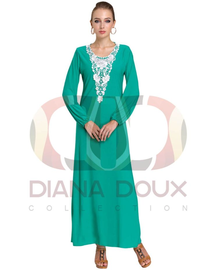 OWJ123-38  Floral Lace Crochet Collar Jubah Dress  Color: GREEN Size: FREE SIZE Weight: 430g Material: Lace + Lycra Measurement: > Shoulder: 35cm  > Sleeve: 58cm  > Length: 130cm  > Bust: 84-100cm Category: Jubah Dress Type: Ready Stock
