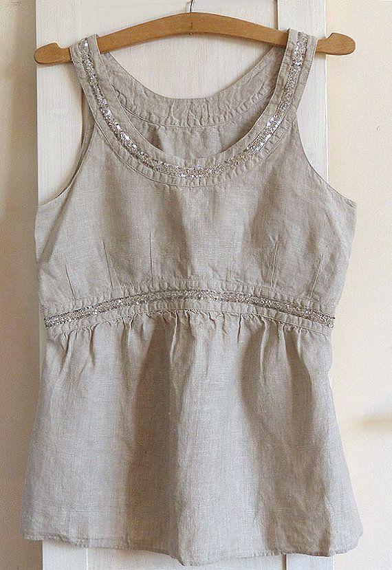 100 % lin camisole, réservoir supérieur, lin naturel, Vintage, paillettes