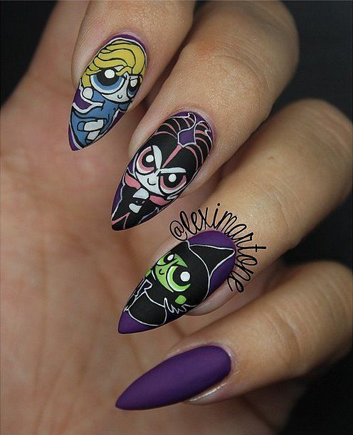 A matte topcoat on these Powerpuff Girls nails gives them a little extra flair.