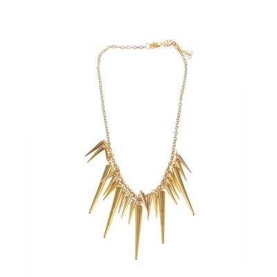 Spike ketting/necklace goud