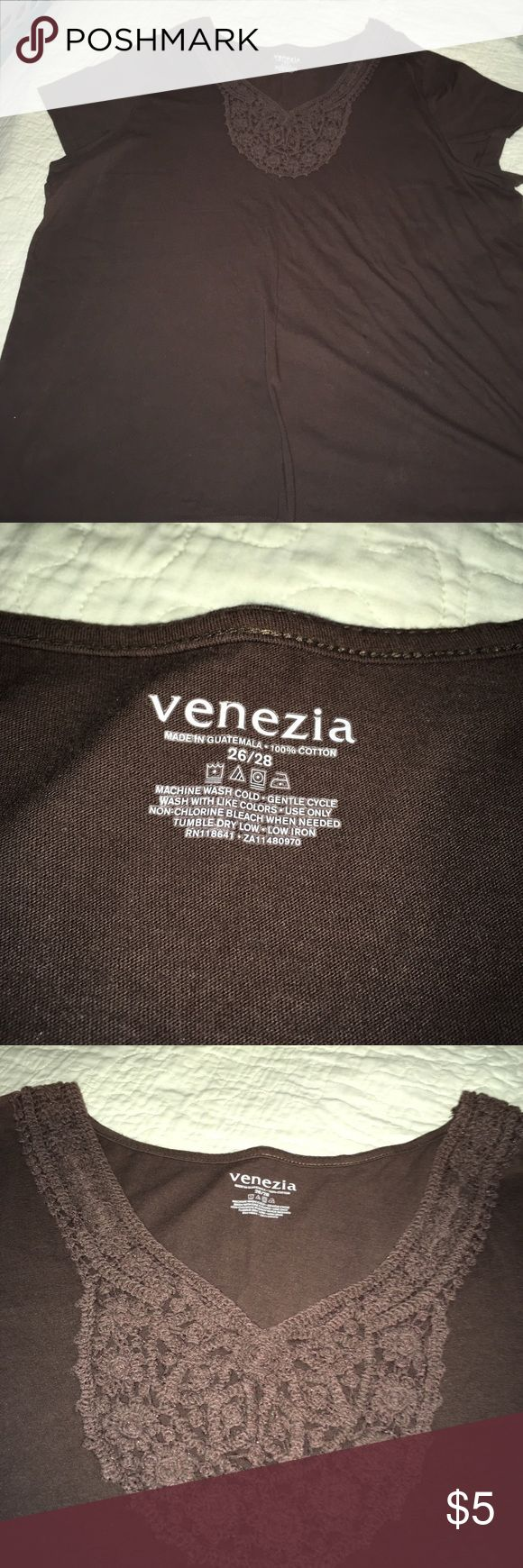 Decorative T shirt Size 26/28 Brown gently used. Venezia Tops Tees - Short Sleeve
