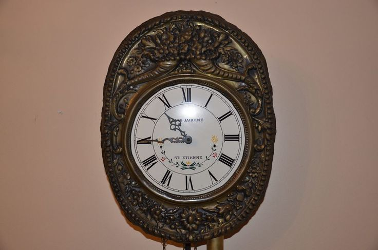 Antika Pirinç Fransız Comtoise Saat, Louis Jaquine St. Etienne i