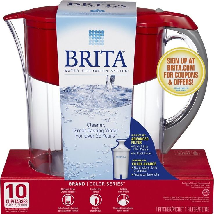 Brita Large 10 Cup Grand Water Pitcher with Filter - BPA Free - color Red wine #Brita
