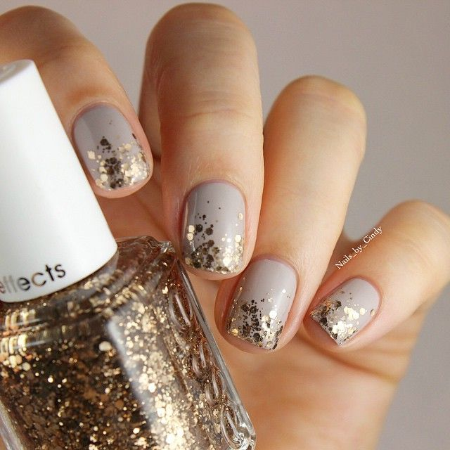 """Elegant holiday nails featuring """"Summit of Style"""" and """"Take it Outside"""" from Essie 