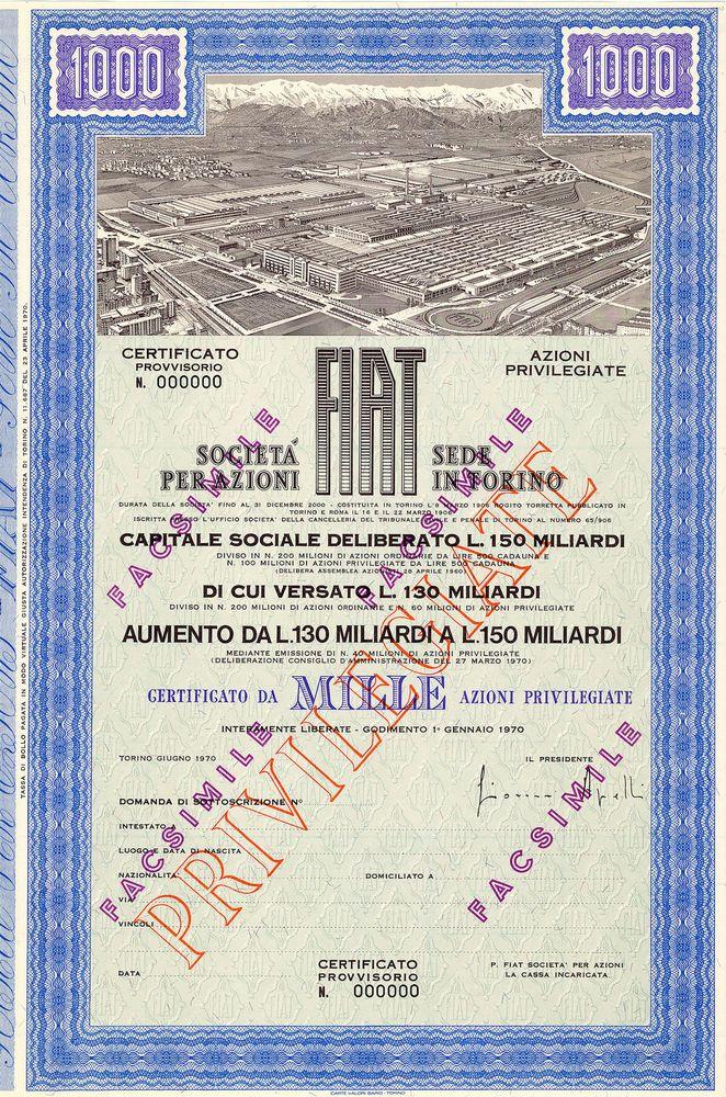 FIAT S.p.A., Torino, Aktie über 500.000 Lire von 1970 + SPECIMEN + RARITÄT!