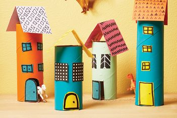 Put those empty paper rolls to good use by making a mini town for all your kid's figurines.