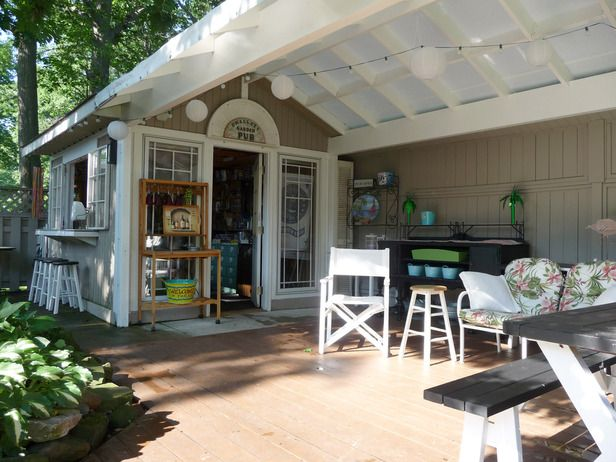 "Cute outdoor ""sheds"" made into something wonderful. I would love the outdoor kitchen!!"