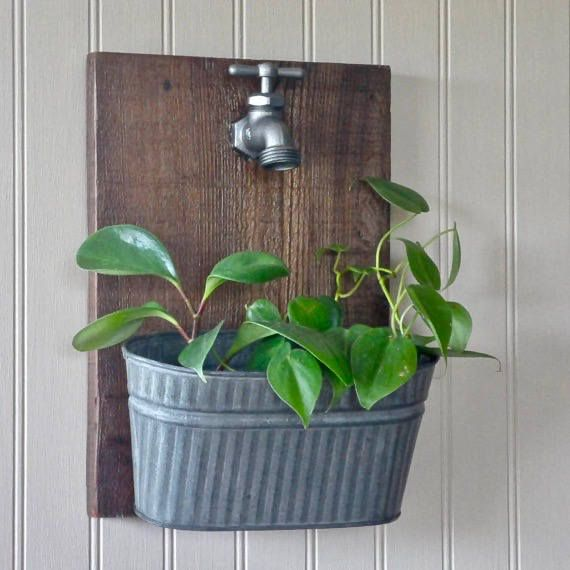 Faucet Wall Planter, metal planter, rustic wall planter, indoor wall planter, farmhouse decor, hanging planter, barnwood decor, country