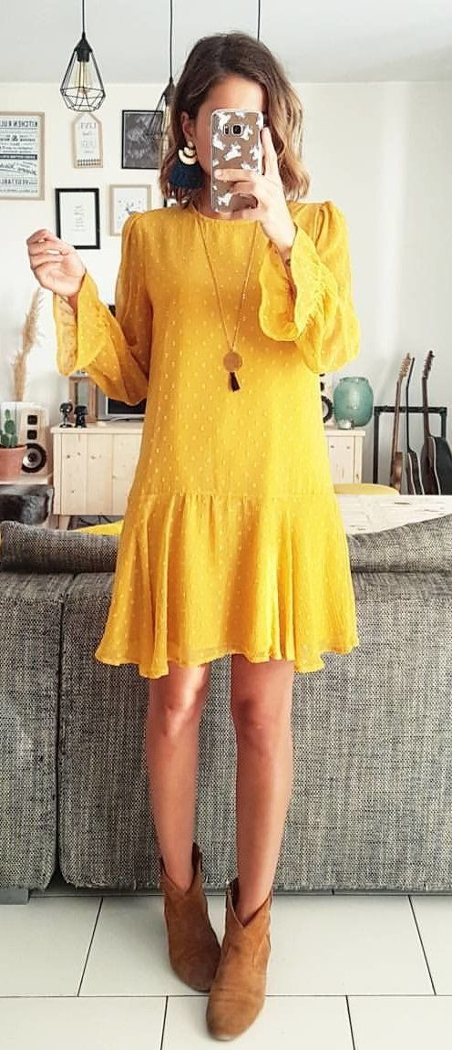 mustard yellow long-sleeve dress - must for fall