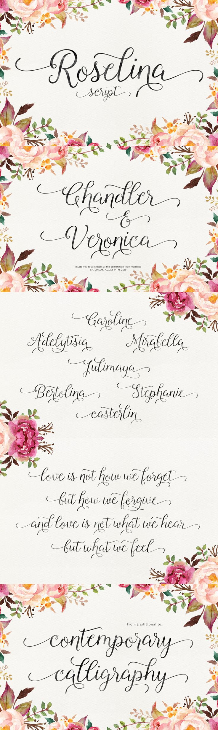Roselina - Roselina Script is a contemporary calligraphy, with a vintage feel, style calligraphy with movin...