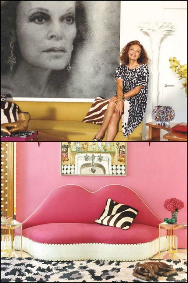Diane von Furstenberg  Η Αμερικανίδα σχεδιάστρια πρόσφατα απέκτησε ένα νέο ρετιρέ στη Νέα Υόρκη που την εκφράζει απόλυτα. Με τεράστια ανοίγματα και ένα roof garden που θυμίζει λιβάδι, δέχεται άφθονο φωτισμό για να υποστηρίξει το πληθωρικό, γεμάτο μοτίβα και έντονο χρώμα, στυλ της. Αίσθηση προκαλεί το υπνοδωμάτιο με το γυάλινο ταβάνι και το κρεβάτι με ουρανό θυμίζοντας θέρετρο στην Γαλλική Πολυνησία.