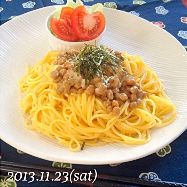 キユーピーあえるパスタソース♡うに (⁎⁍̴ڡ⁍̴⁎) - 12件のもぐもぐ - 納豆うにパスタ by ayu3cafe