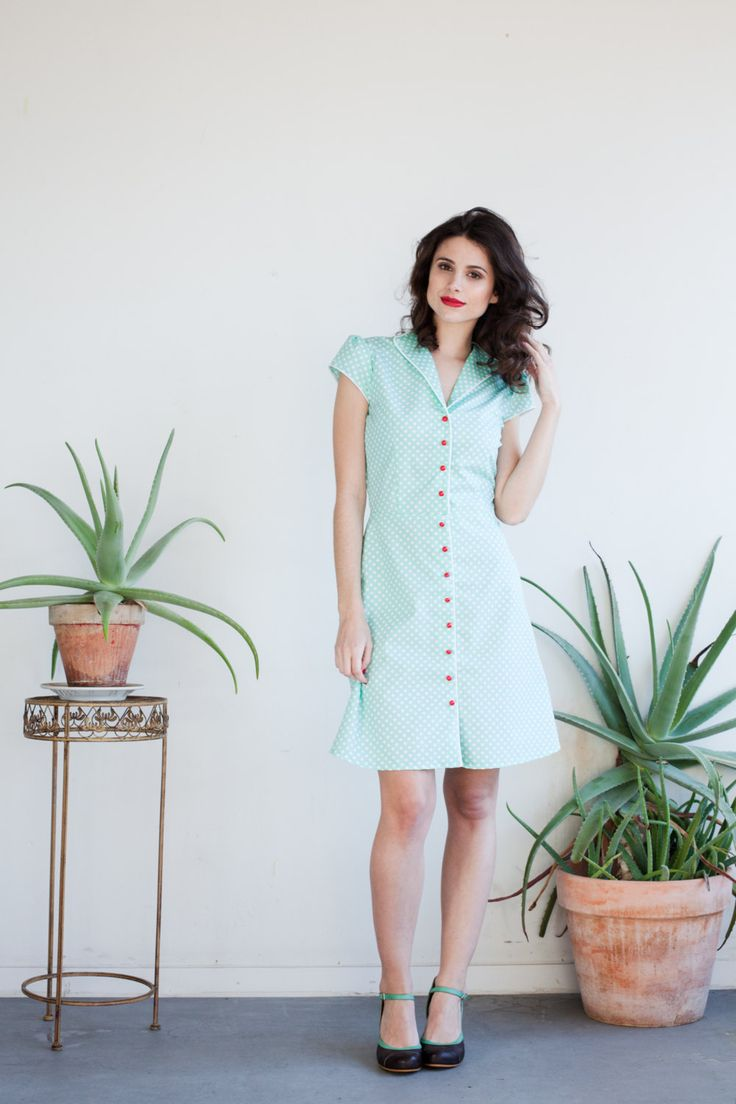 100% cotton mint dress with white polka dots by KillingCouture