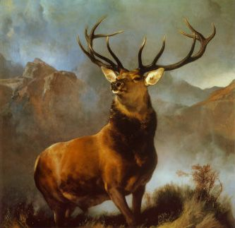 Monarch of the Glen is an oil-on-canvas painting from 1851 by the English painter Sir Edwin Landseer