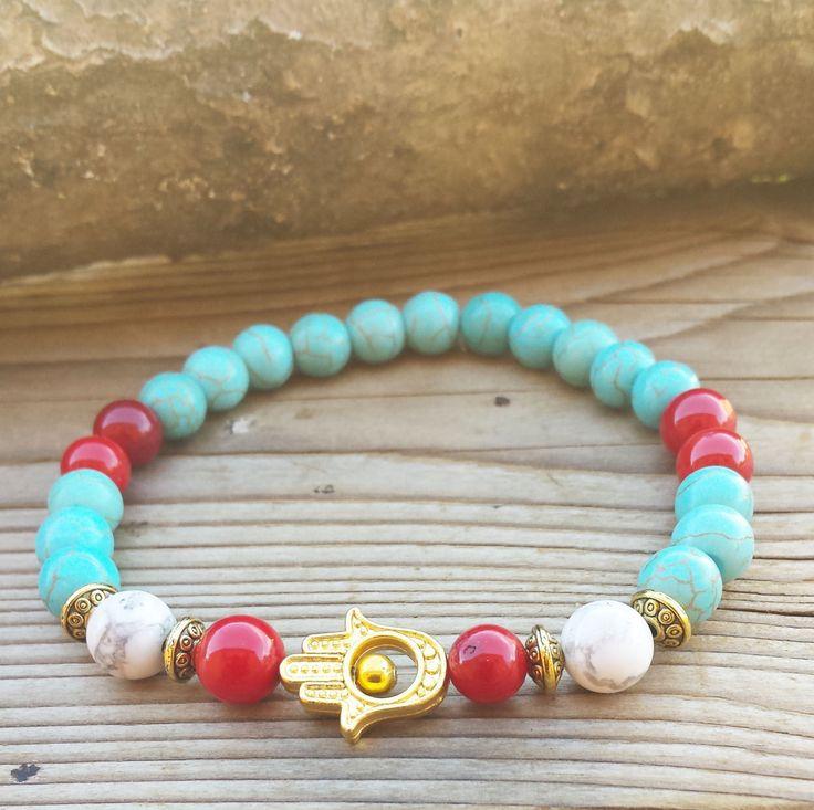 ON SALE HAMSA Bracelet, Coral Turquoise Golden Hamsa Yoga BraceletHowlite Bracelet Fatimas Hand Bracelet
