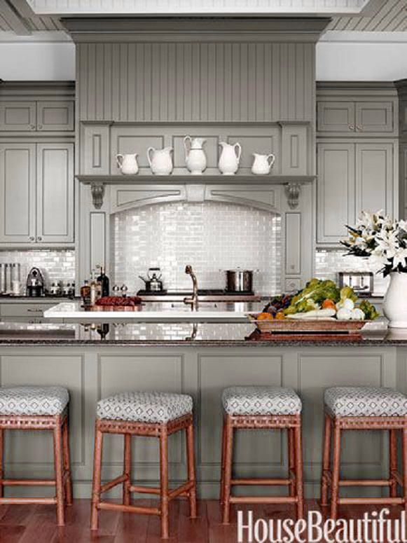 Chelsea gray paint in aura by benjamin moore http www House beautiful com kitchens