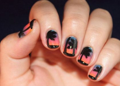 Tropical Sunset Nail Art, How To Pictures :-)