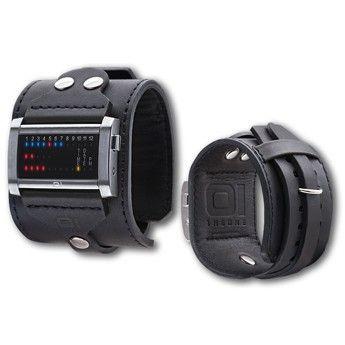 Reloj unisex de pulsera muy original, no sólo por su sistema de lectura binaria sino también por la estilosa correa de piel tipo brazalete http://www.tutunca.es/reloj-brazalete-the-one-ibiza-ride-negro