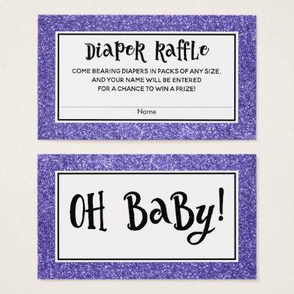 Purple Glitter Baby Shower Diaper Raffle Cards - glitter glamour brilliance sparkle design idea diy elegant