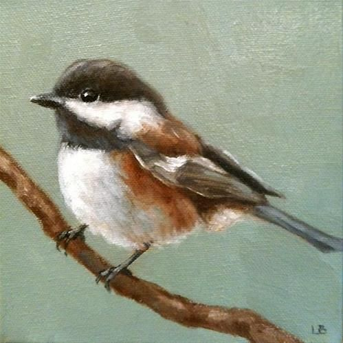 """Little Chickadee"" - Original Fine Art for Sale - © Larisa Brechun"