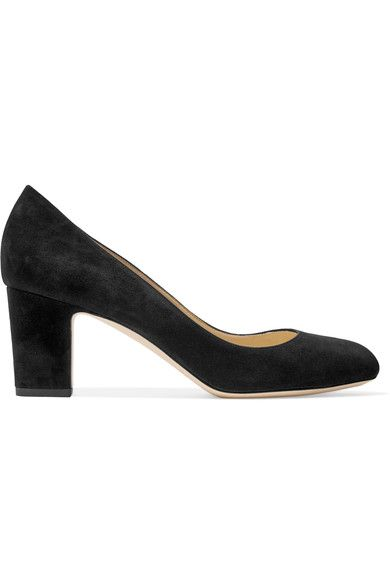 Heel measures approximately 65mm/ 3 inches Black suede Slips on  Made in Italy