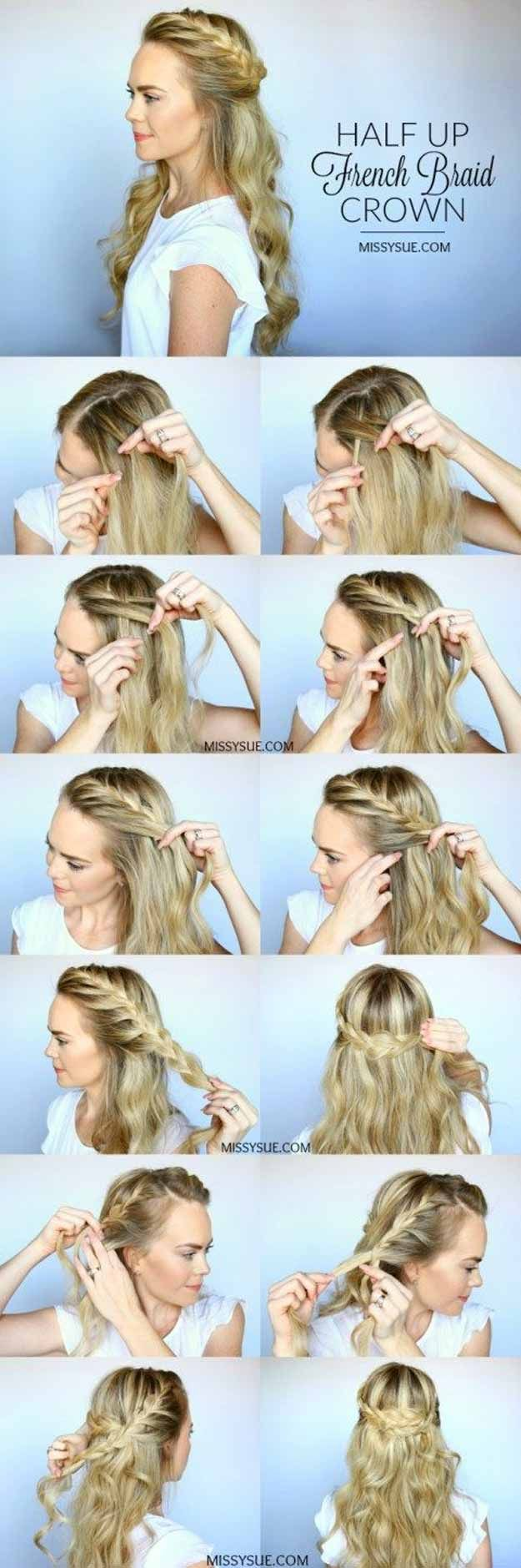 Best Pinterest Hair Tutorials - Half-Up French Braid Crown - Check Out These Super Cute And Super Simple Hairstyles From The Best Pinterest Hair Tutorials Including Styles Like Messy Buns And Half Up Half Down Hairdos. Dutch Braids Are Super Hot Right Now Too. These Are The Best Hairstyle Tutorials Ideas On Pinterest Right Now. Easy Hair Up And Hair Down Ideas For Short Hair, Long Hair, and Medium Length Hair. Hair Tutorials For Braids, For Curls, And Step By Step Tutorials For Prom, A…