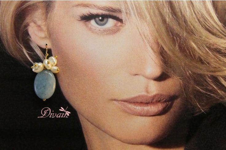 Pendiente con puiedra de aguamarina y perlas de Divain por DaWanda.com