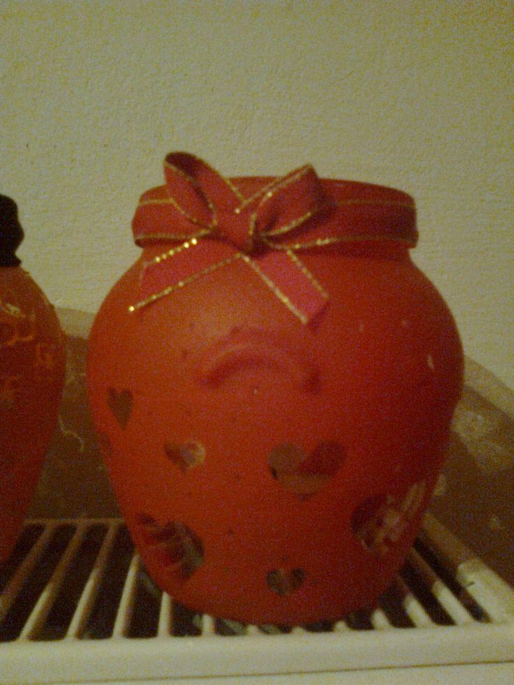 Festett üveg szívecskékkel