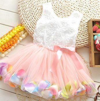 summer girls dress girls rose petal hem dress color cute princess dress girls baby dress 1-5 years