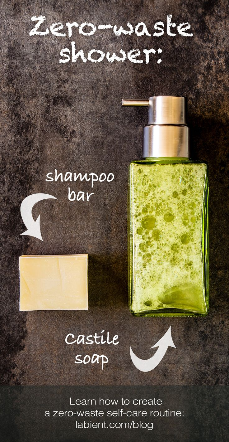 Simple, healthy, sustainable: two-ingredient body care! Use Castile soap as a gentle body cleanser, and a shampoo bar soap to clean your hair. Learn how to create a zero-waste self-care routine on the blog.