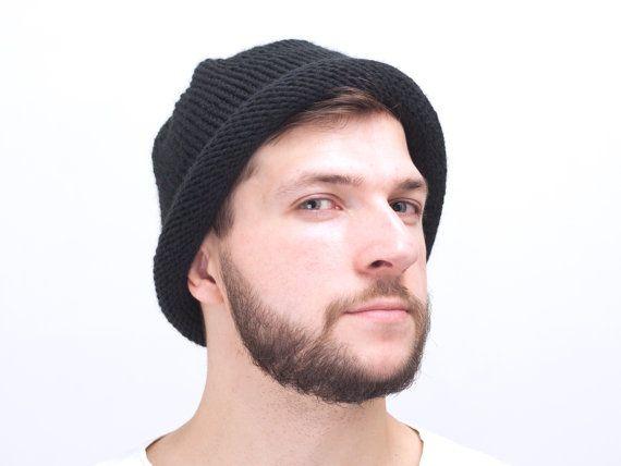 Black Mens Knit hat Cloche Hat Black Men Wool by OneHatStore