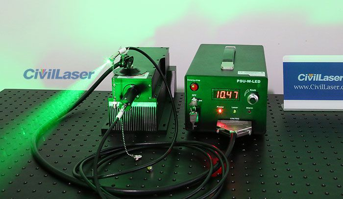 This Is A 532nm Dpss Laser From Civillaser The Output Power Is 10w And It Is Very High Power For Dpss Laser And It Coupled A 200um Higher Power Fiber Laser