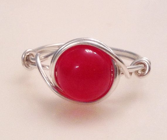 Sterling Silver Natural Indian Ruby Gemstone Ring by MAJESSY, $19.99
