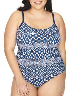 7458c4f4c5 Catalina - Catalina Suddenly Slim Women's Plus-Size Retro Slimming Bandeau  Swimdress One-Piece