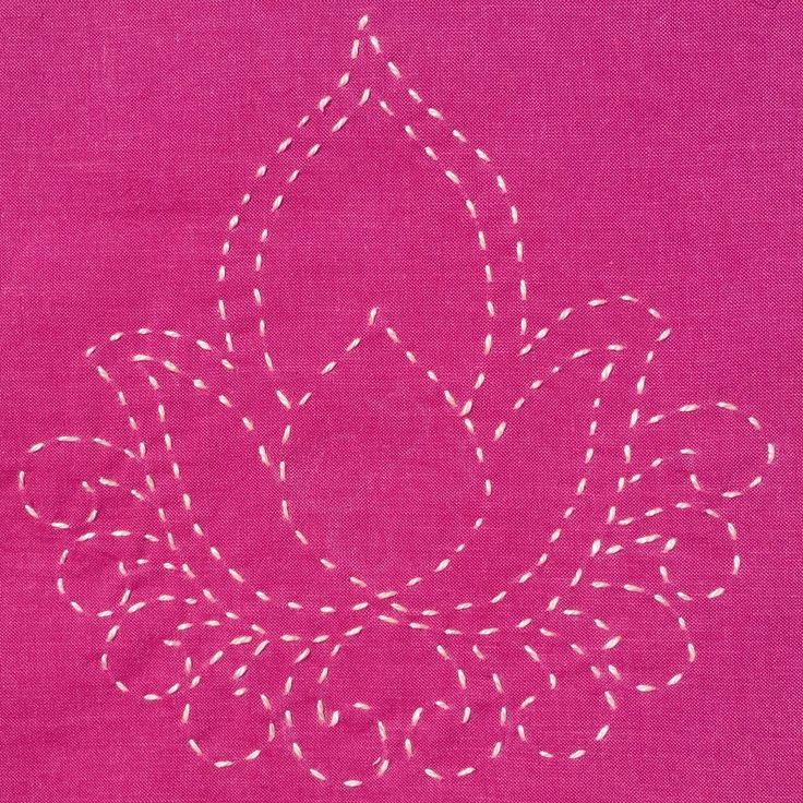 Running Stitches for Lotus Blossom Quilt Square designed and stitched by Carlyn Clark