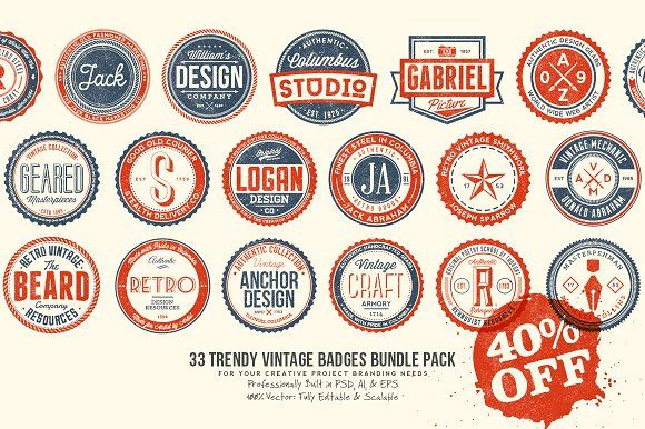 33 Trendy Vintage Badges Bundle Pack by Yusof Mining on @creativemarket