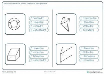 Ficha de elegir poliedros para niños de 6º de primaria